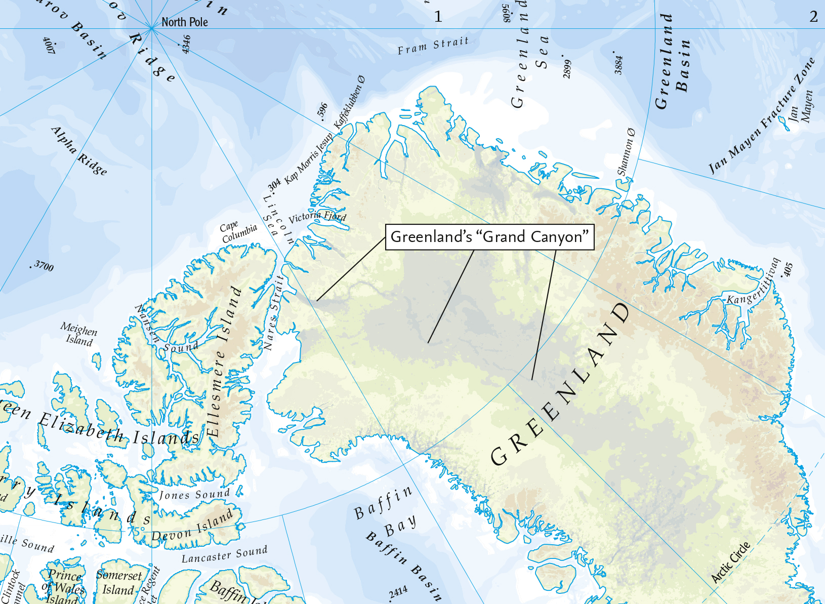 Times atlas mapping the polar regions in the arctic greenlands mega canyon of record length over 750 km long and 800 m deep discovered under the greenland ice sheet in 2013 is clearly sciox Image collections